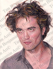 """Robert Pattinson: Never Think"" Color Pencil on Card Stock Paper cut 8.5"" by 11"" July 9, 2009 - 6 hours"